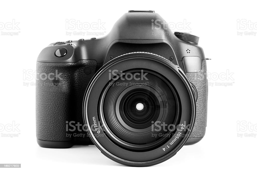 Professional digital camera with zoom lens stock photo
