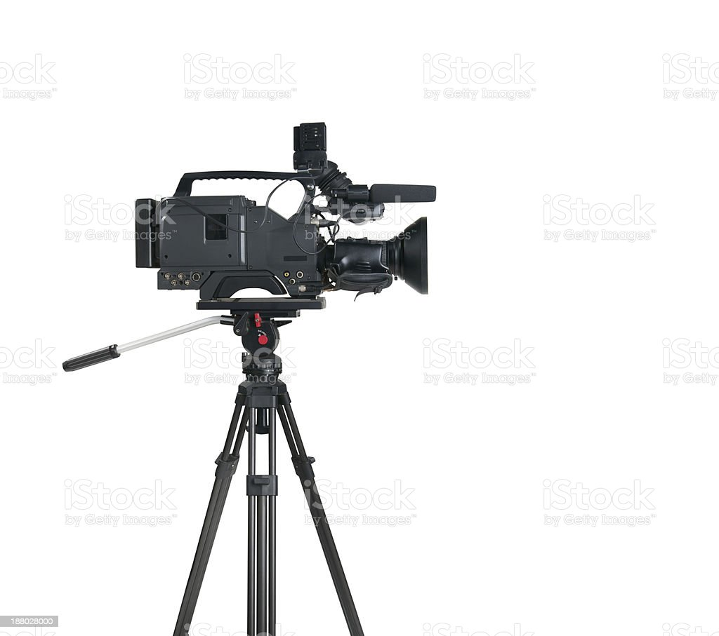 Professional digital video camera, isolated on white background stock photo