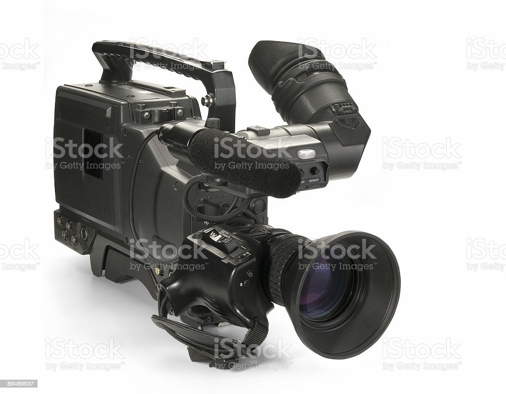 Professional digital video camera, isolated on white background royalty-free stock photo