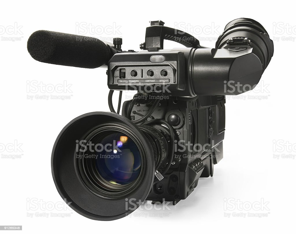Professional digital video camera, isolated on white background. stock photo