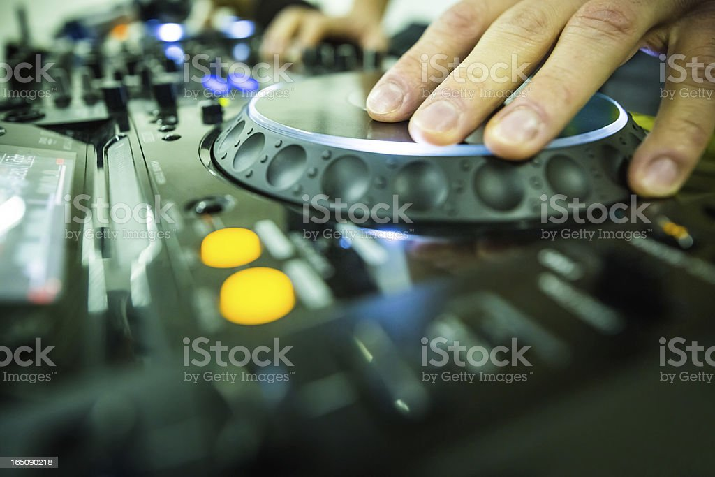 Professional DJ at party stock photo