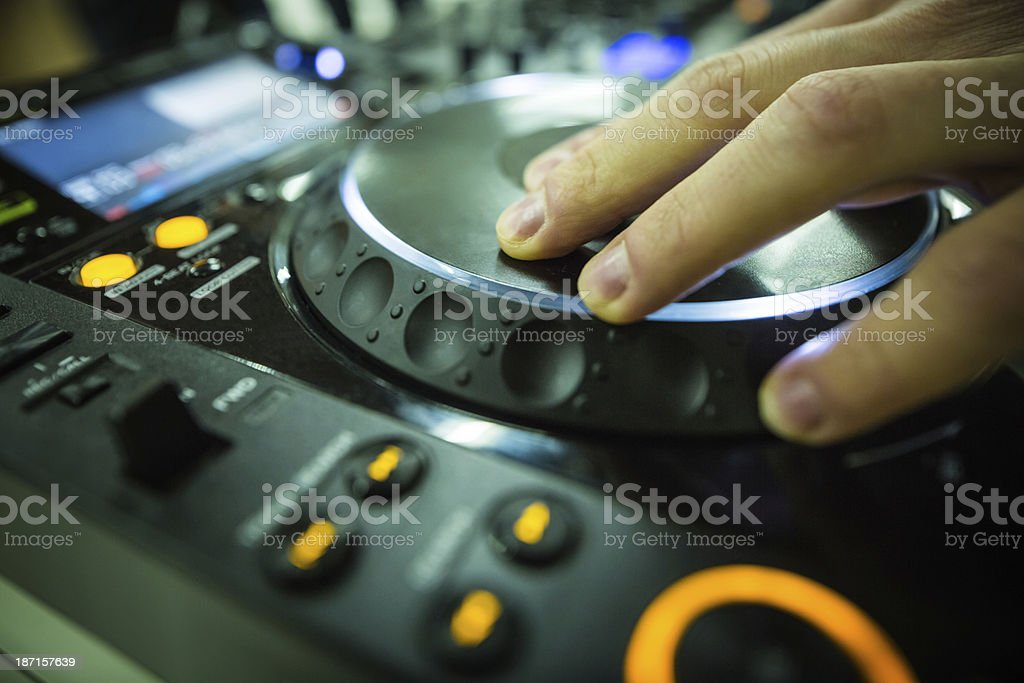 Professional DJ at party royalty-free stock photo
