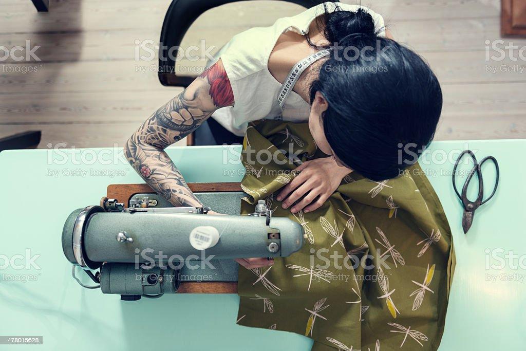 Professional Dressmaker At Work stock photo