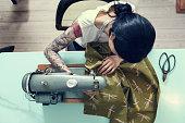 Professional Dressmaker At Work