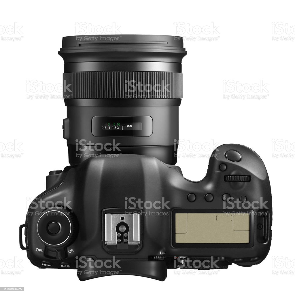 Professional DSLR Camera from Above stock photo