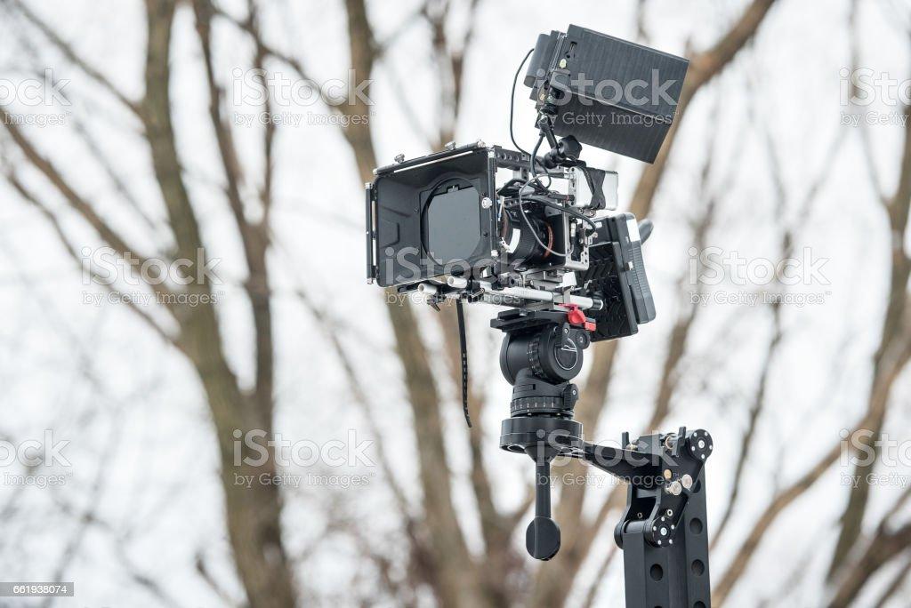 Professional DSLR camera on crane stock photo