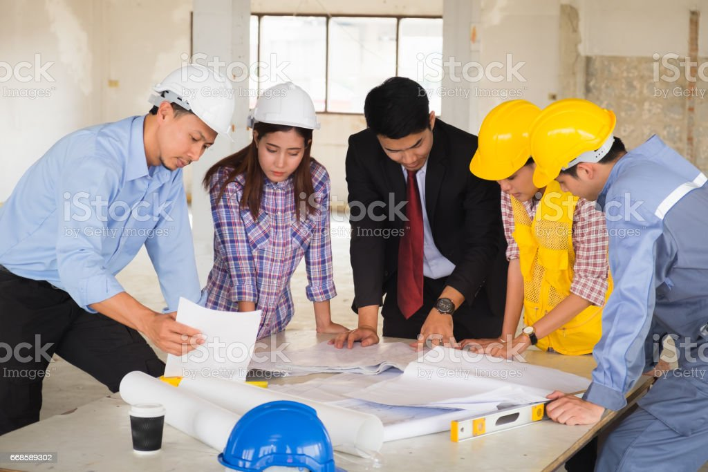 Professional engineer are planning construction stock photo