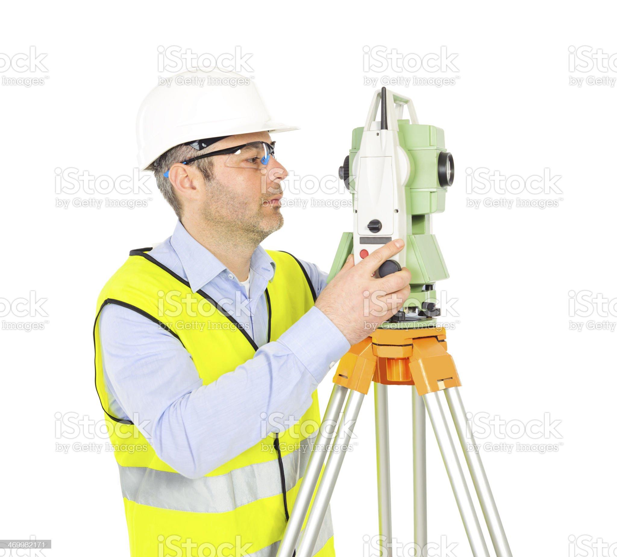 professional engineer on white background royalty-free stock photo