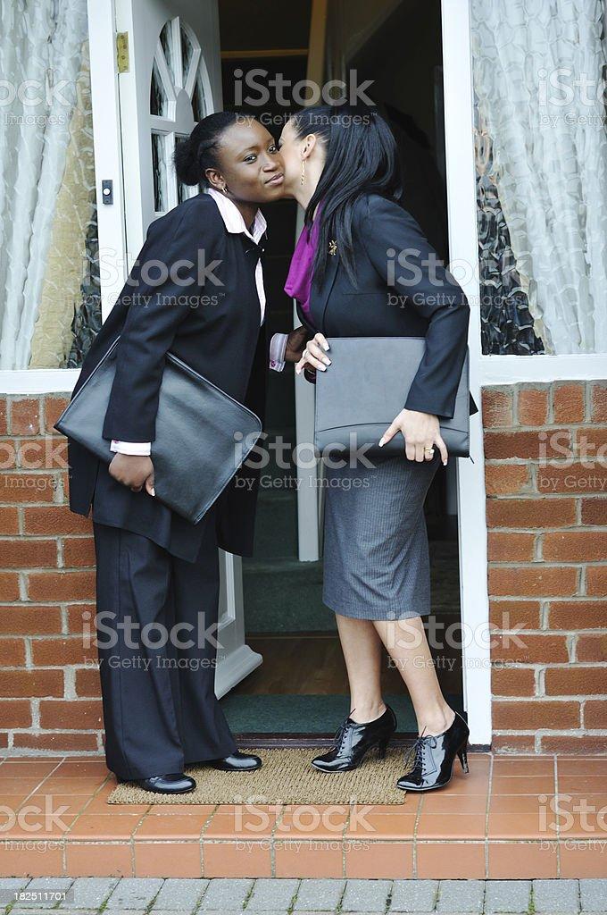 professional female couple go to work royalty-free stock photo