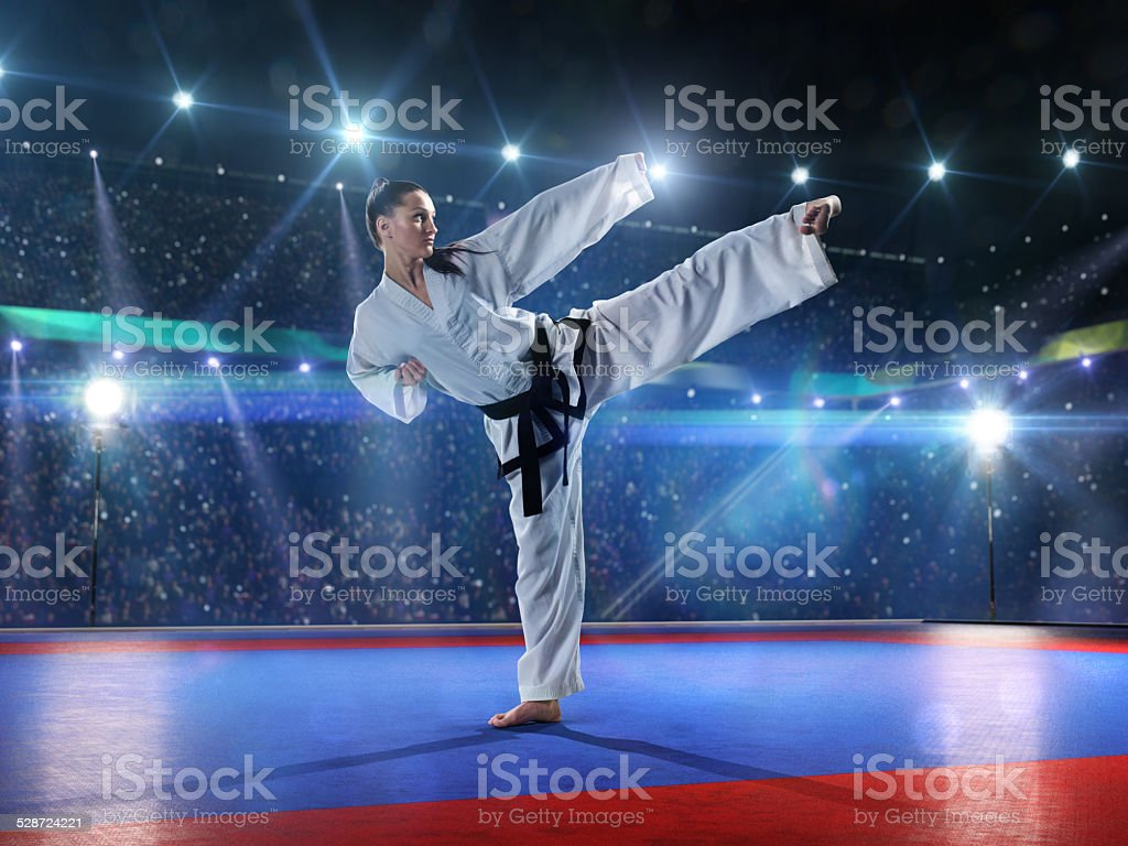 Professional female karate fighter stock photo