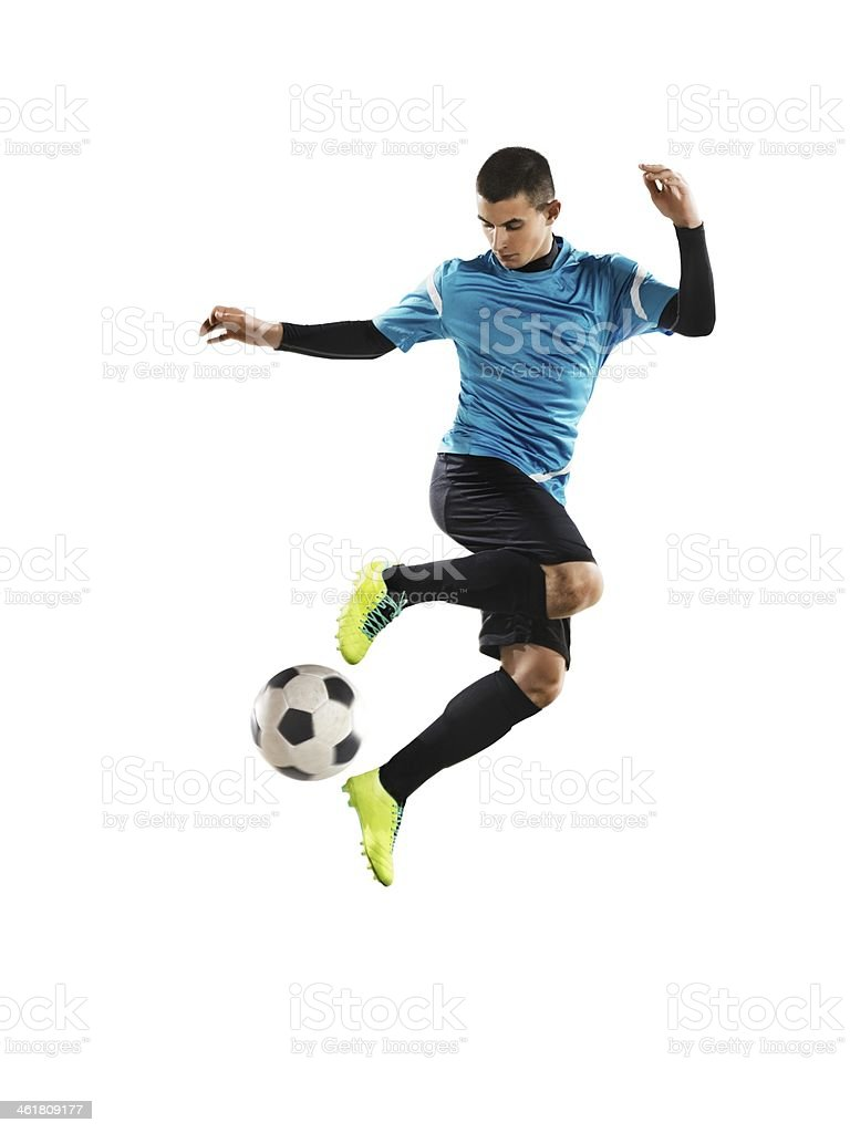 Professional football player is saves a ball stock photo