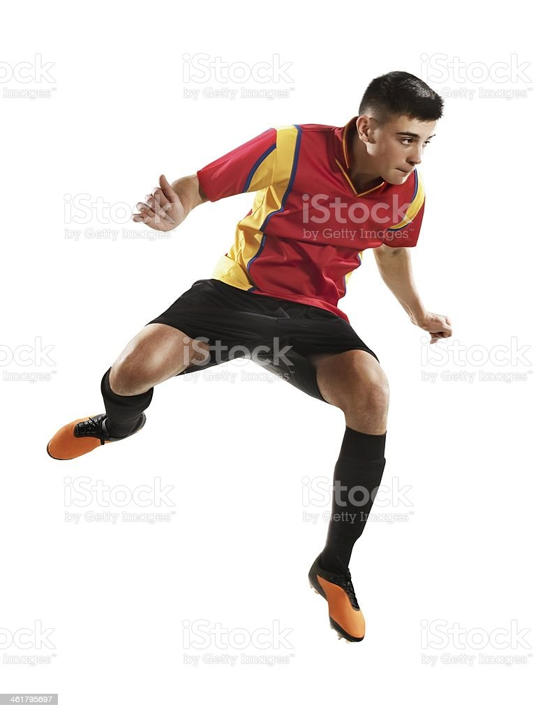 Professional football player jumping royalty-free stock photo
