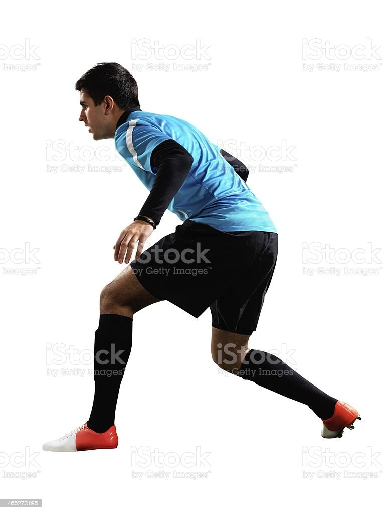 Professional football player ready to block royalty-free stock photo