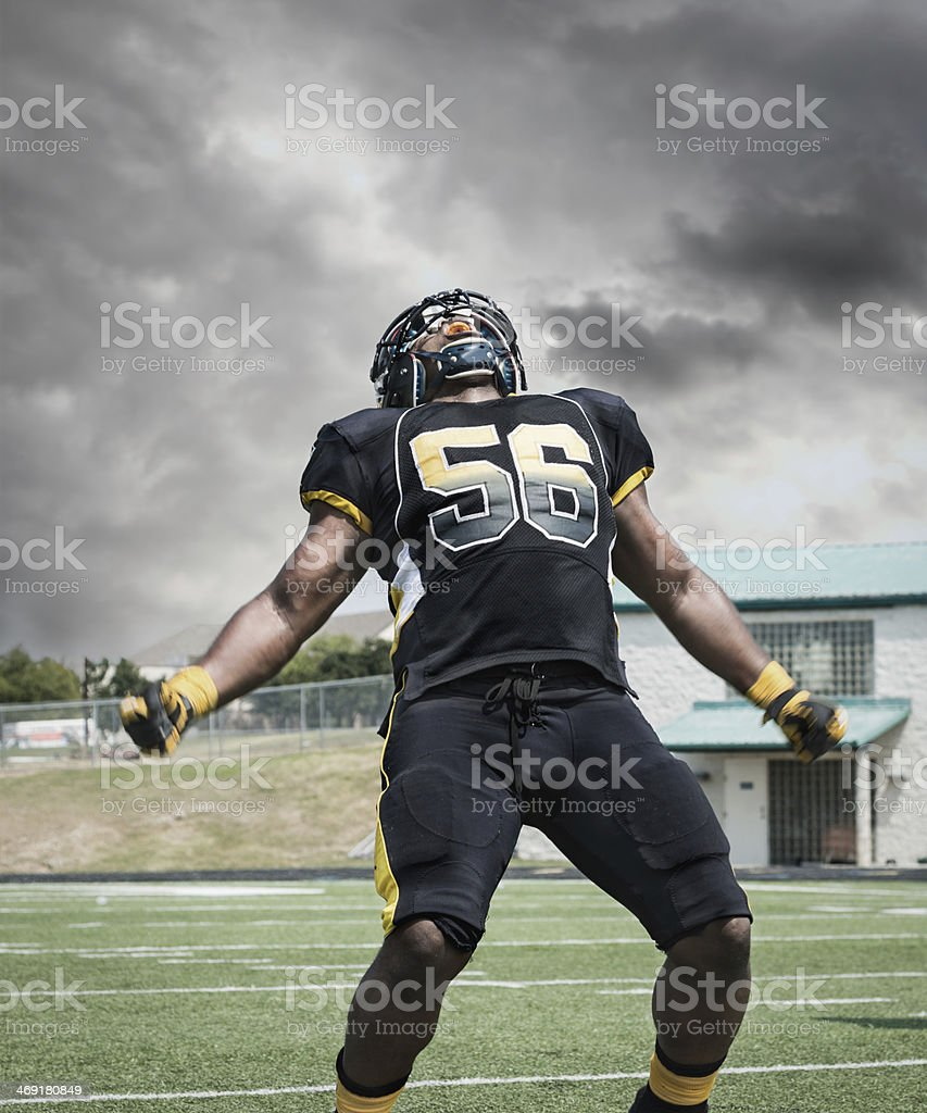 Professional Football Player Shouting After Scoring Touchdown stock photo