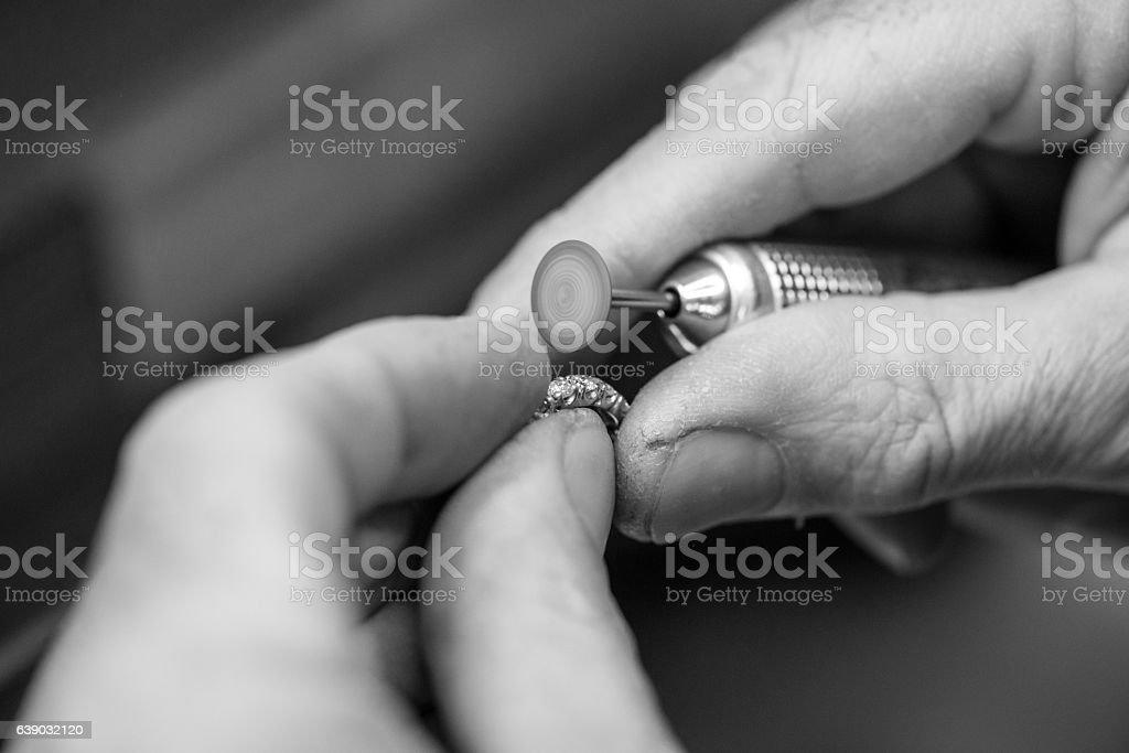 Professional gemstone settings jewellery craft laboratory: Close up detail stock photo