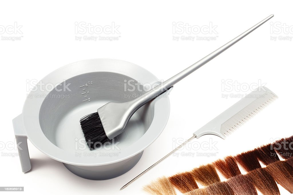 Professional Hair Coloring Tools stock photo