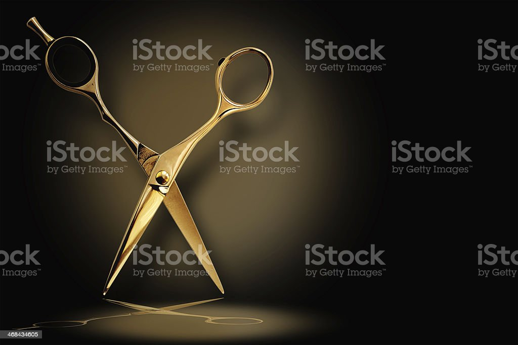 Professional hairdresser scissors with reflection stock photo