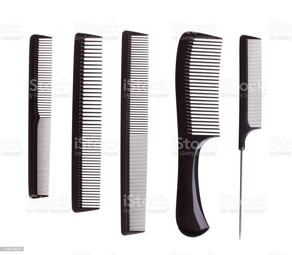 Professional hairdresser tools isolated on white - Stock image stock photo