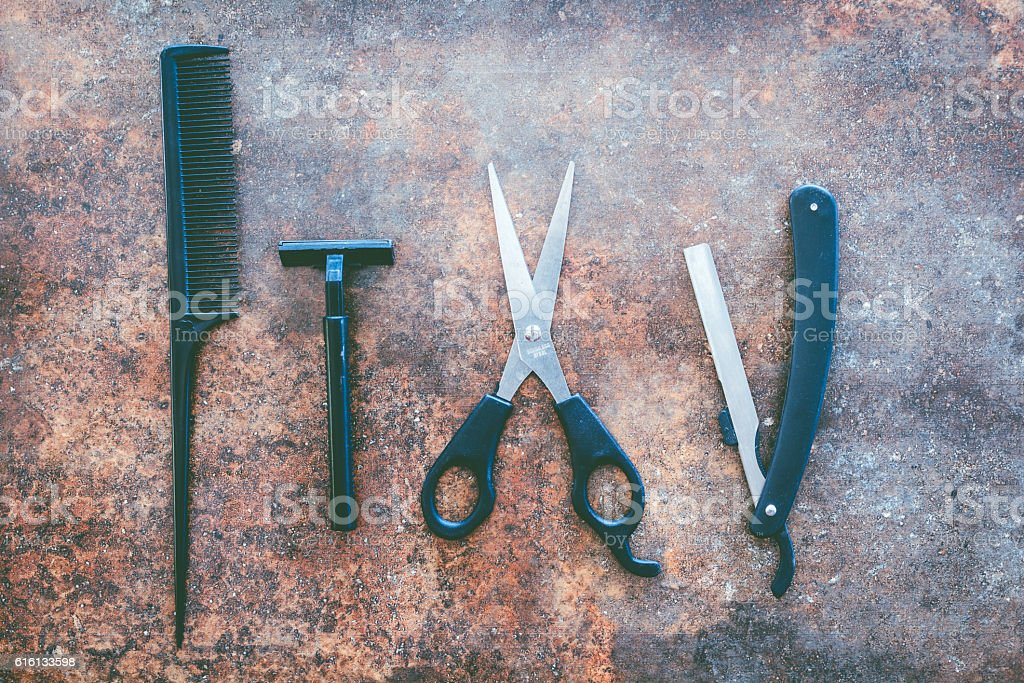 Professional hairdresser tools stock photo