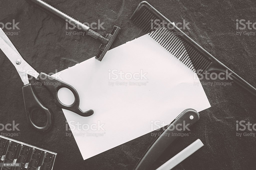 Professional hairdresser tools with copy space stock photo