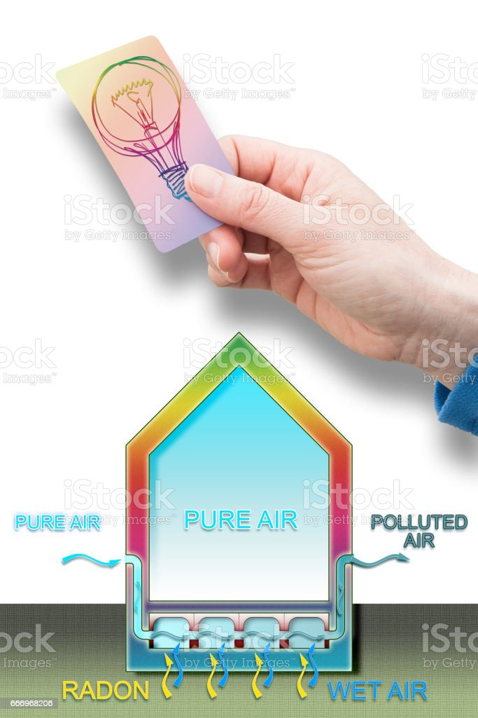 A professional hand holding a light bulb - An expert can solve the problem of radon in our homes - Radon solution concept image stock photo