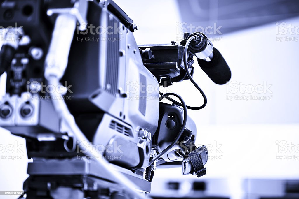 Professional HD broadcast video camera in studio royalty-free stock photo
