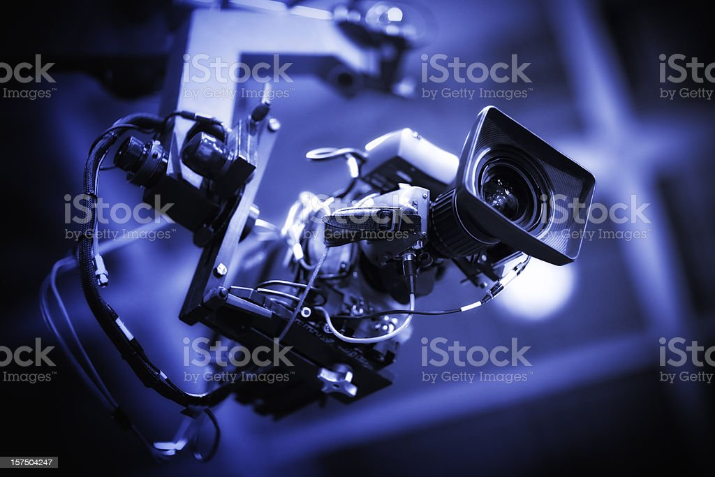 Professional HD broadcast video camera on crane stock photo