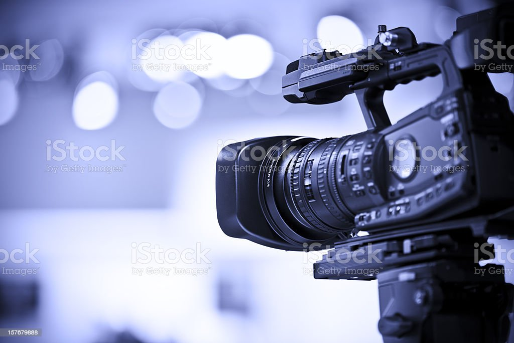 Professional HD video camera in studio stock photo