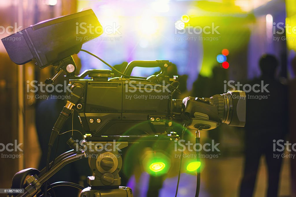 Professional HD video camera in studio stock photo