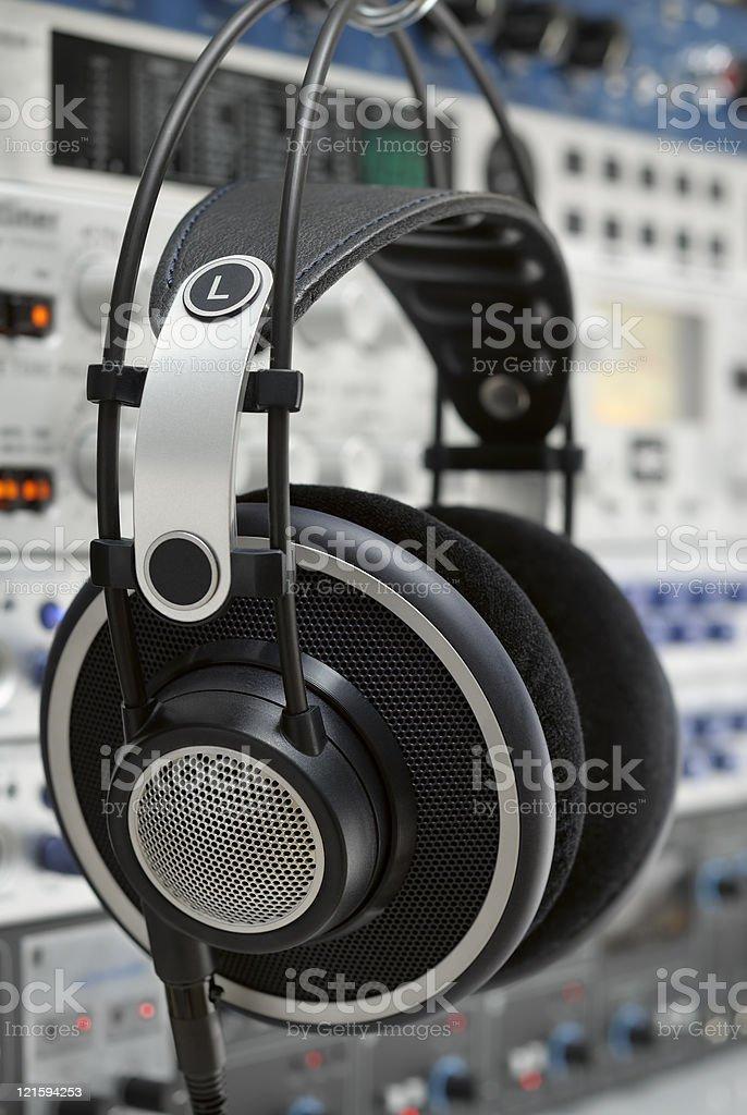 Professional headphones in a recording studio stock photo