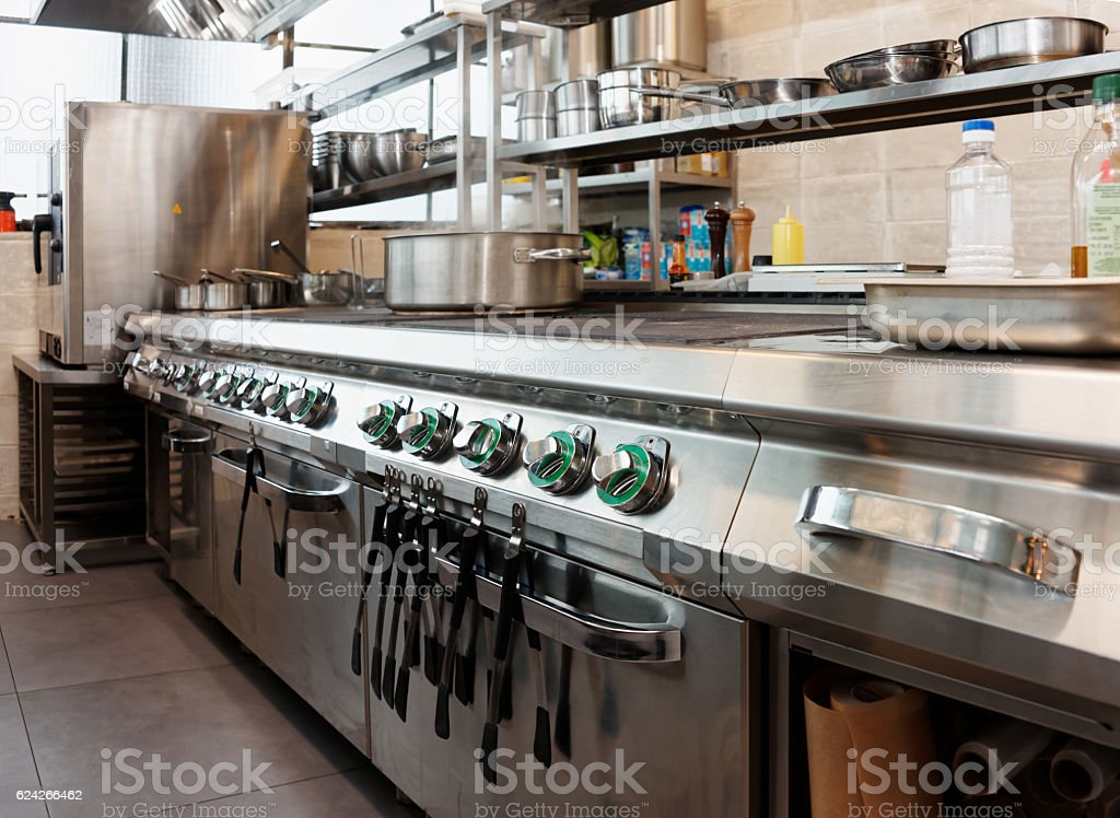 Professional kitchen interior stock photo