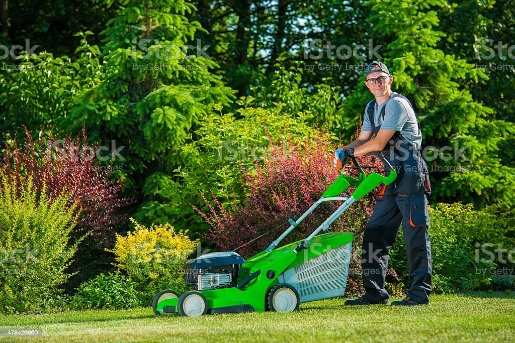 Professional Lawn Mowing stock photo