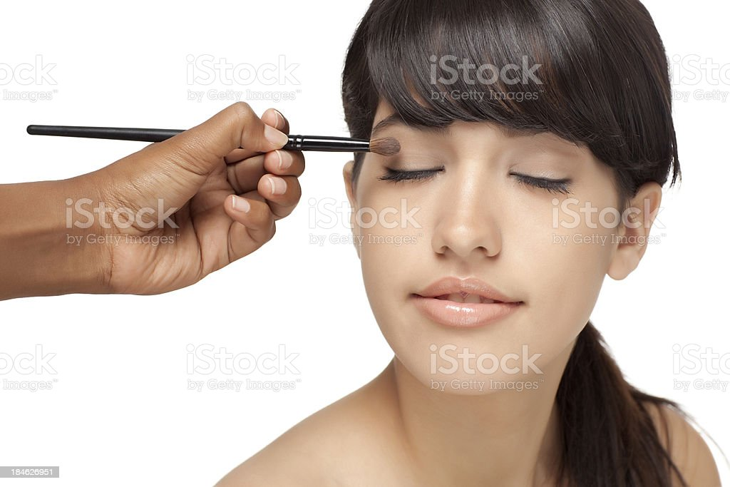 Professional make up artist. stock photo