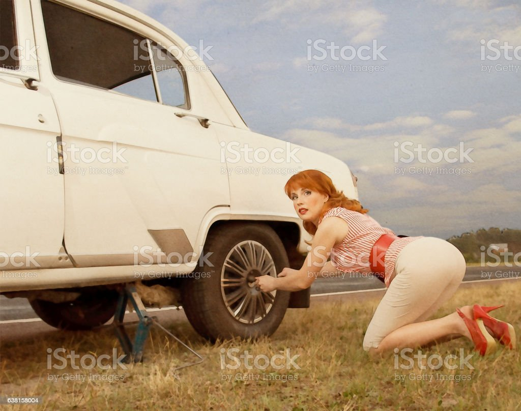Professional make-up, hair and style. Emulation of Pin-Up style photography stock photo