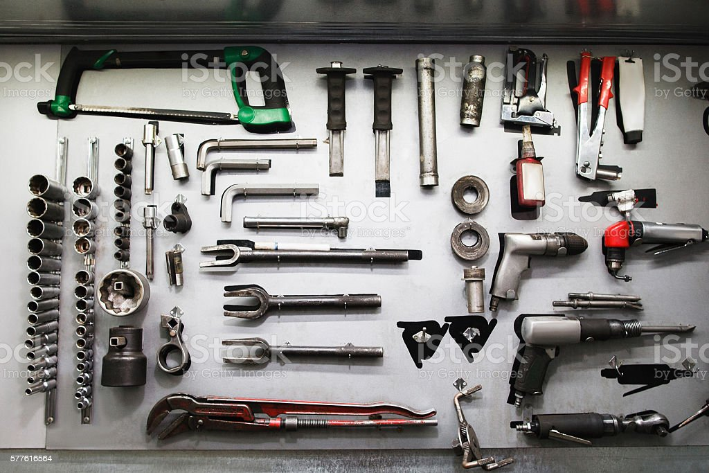 Professional mechanical tools in modern service stock photo