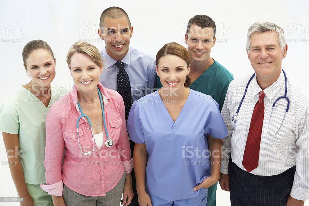 Professional medical staff of men and women stock photo