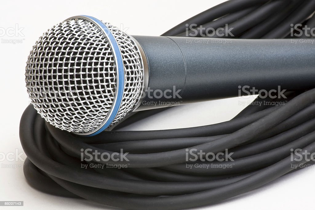 Professional microphone and lead royalty-free stock photo