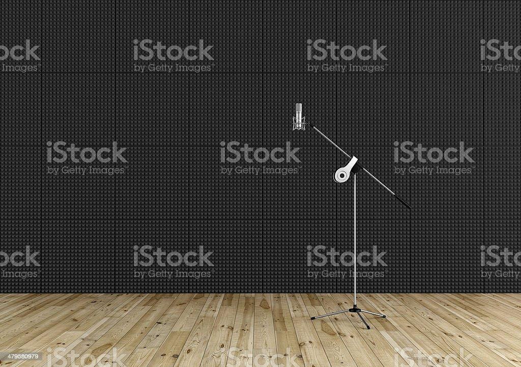 Professional microphone in a recording studio stock photo