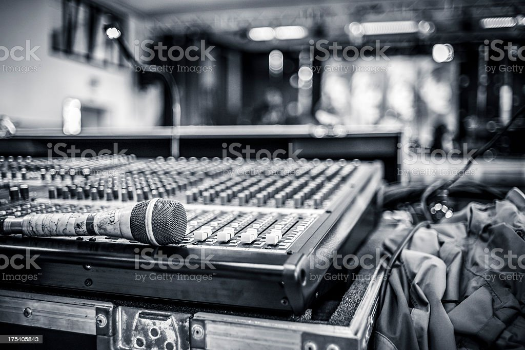 Professional mixer during a concert stock photo