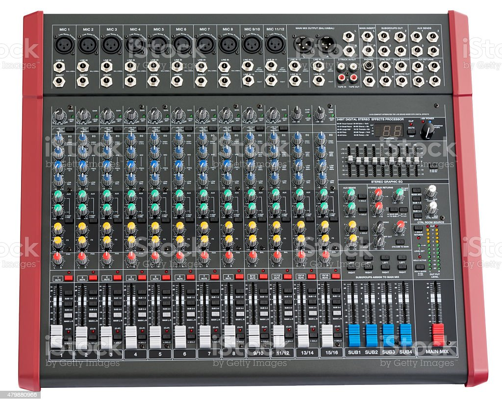 Professional Mixing Console stock photo