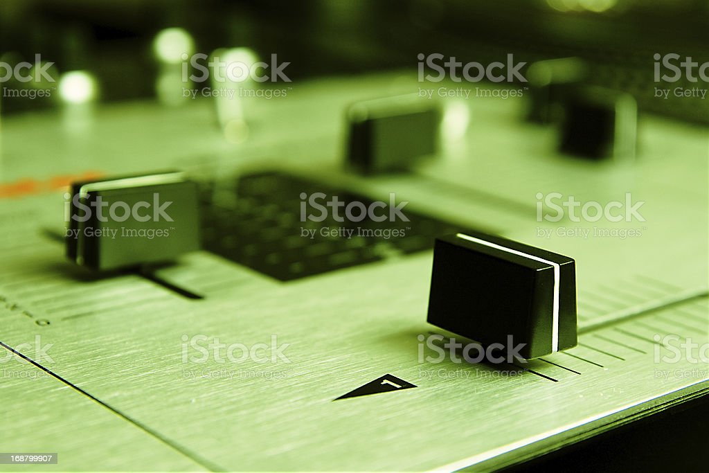 Professional mixing controller of a dj stock photo