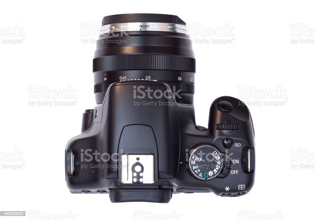 Professional modern DSLR camera isolated on white stock photo