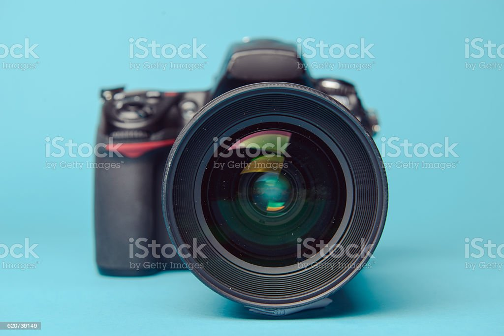 Professional modern DSLR camera stock photo