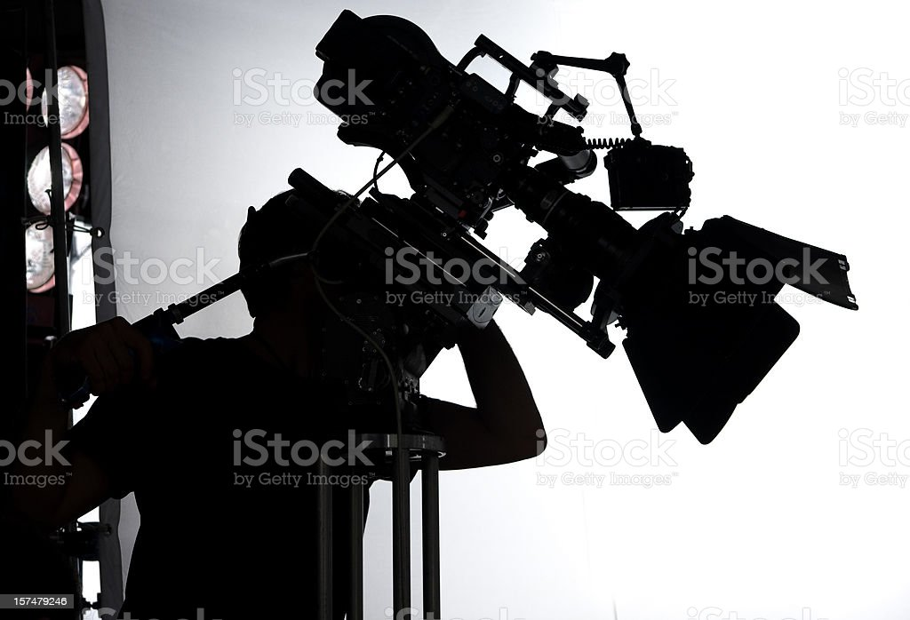 professional movie set with camera and operator stock photo