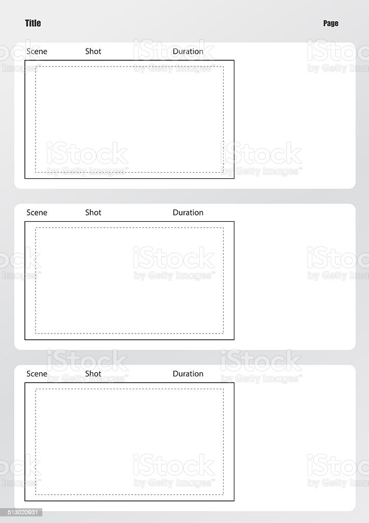 Professional Of Film Storyboard Template Vertical Stock Photo