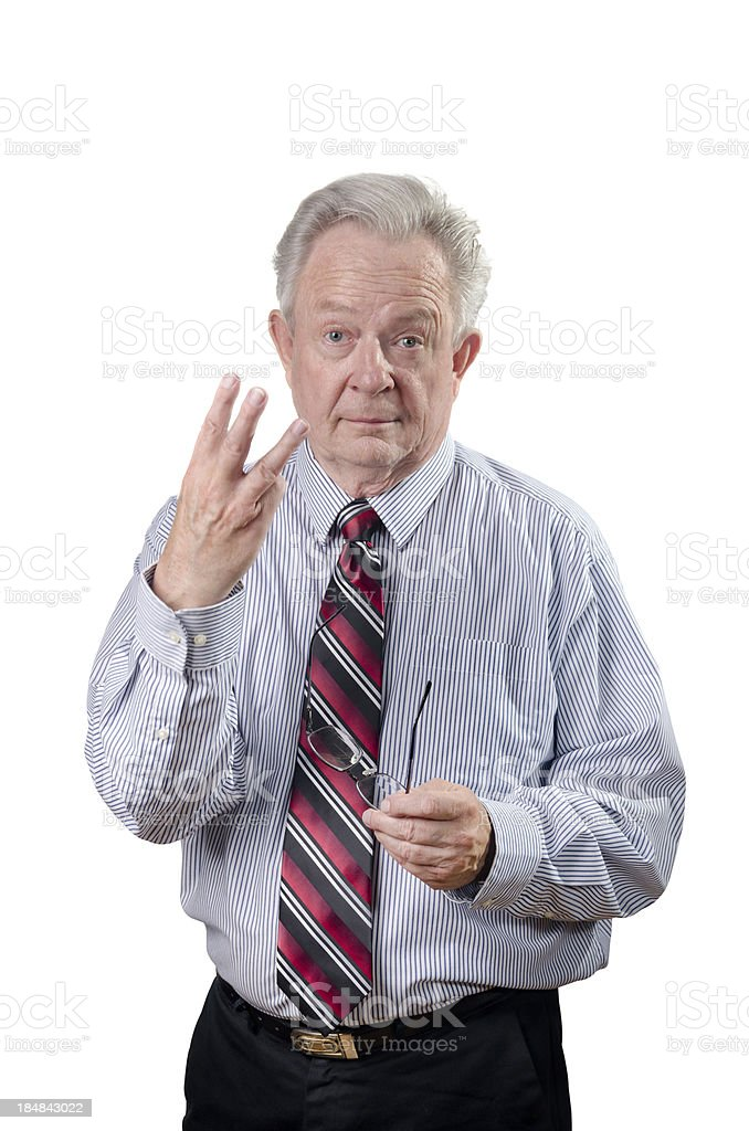 Professional Or Businessman Holding Up Fingers To Demonstrate Th stock photo