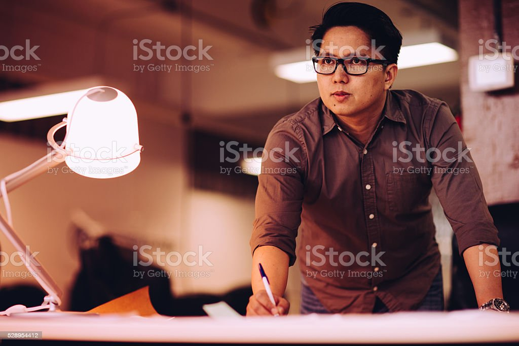 Professional overtime working at the office stock photo