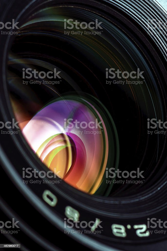 Professional photo lens closeup stock photo