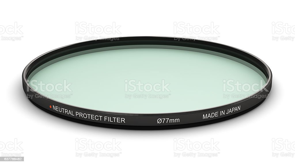 Professional photo neutral protect filter 77 mm stock photo