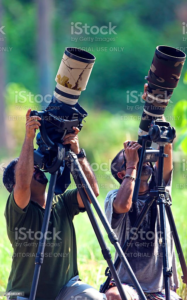 Professional Photographer at work stock photo